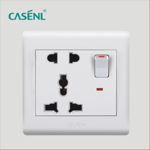 Two Three Pin Universal Switch Socket with Light